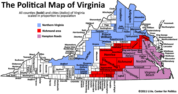 Political Map Of Virginia Vivian J Paige All Politics Is Local