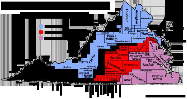 Political Map Of Virginia  VIVIAN J PAIGE  All Politics